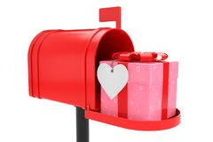 Ornate with Hearts Paper Gift Box with Red Ribbon in Red Mailbox. On a white background. 3d Rendering vector illustration