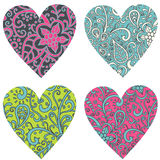 Ornate-hearts-set Royalty Free Stock Photography