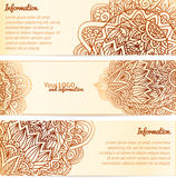 Ornate henna ornament vintage vector banners Stock Photos