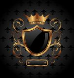 Ornate Heraldic Shield With Crown Royalty Free Stock Photos