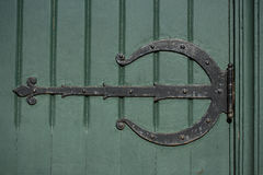 Ornate Hinge on Old Green Door Royalty Free Stock Photo