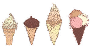 Ornate ice-creams. Four hand-drawn ice-cream cones isolated on white background Stock Photo