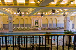 Ornate indoor hotel pool Stock Photos