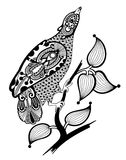 Ornate ink bird decoration Royalty Free Stock Images
