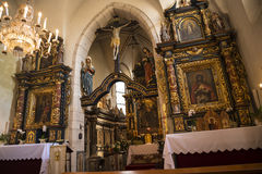 The ornate interior of the Church of Saint Giles in Krakow Poland Stock Images