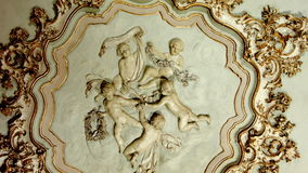 Ornate interior design. Carving ornate interior design in interior of Italian villa. Smooth camera track left stock video