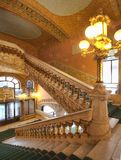 Ornate interior design of entrance hall at Palau de la Musica, Barcelona, Spain, 2014 royalty free stock image