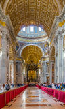 Ornate interior of Saint Peter`s Basilica in Vatican Royalty Free Stock Photo