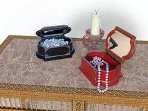 Ornate jewelry boxes Royalty Free Stock Image