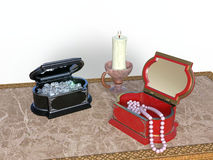 Ornate jewelry boxes Royalty Free Stock Photography