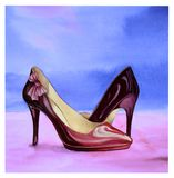 Ornate lacquer crimson shoes. Watercolor illustration of ornate lacquer crimson shoes with high heels on a bright watercolor background Royalty Free Stock Images