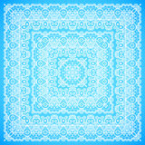 Ornate lacy blue and white vector ornament Stock Photos