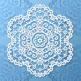Ornate lacy white vector paper napkin Royalty Free Stock Image