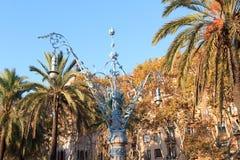 Ornate lamppost at promenade Passeig de Lluis Companys in Barcelona Stock Photo