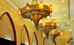 Ornate Lamps. Highly decorative lamps hanging in a Dubai Mall Royalty Free Stock Photo