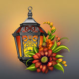 Ornate lantern with autumn colorful flowers arrangement, seasonal greetings Royalty Free Stock Photo
