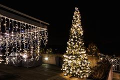 Ornate and lighted Christmas tree in the garden. Stock Photography