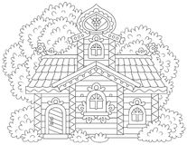 Ornate log cabin. Vector illustration of an old decorated wooden hut from a fairy tale Royalty Free Stock Photography