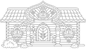 Ornate log cabin royalty free illustration