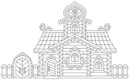 Ornate log cabin. Vector illustration of an old decorated wooden hut from a fairy tale Stock Photo