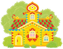 Ornate log hut vector illustration