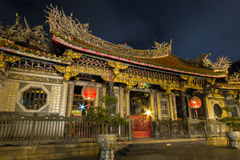 Ornate Longshan Temple at night in Taipei Stock Images