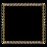 Ornate luxurious golden frame in art deco style on black background. Elegant square border with 3d embossed effect vector illustration