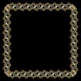 Ornate luxurious golden frame in art deco style on black background. Square border with 3d embossed effect. Elegant stock illustration