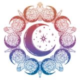 Ornate mandala made of decorative vintage floral rose moons with crescent in the middle. royalty free illustration