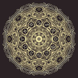 Ornate mandala and zodiac circle with horoscope signs on black background. Stock Images