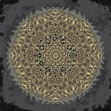 Ornate mandala and zodiac circle with horoscope signs on dark grunge background. Stock Photos