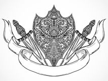 Ornate medieval shield, sword and ribbon banner. Vintage highly detailed hand drawn illustration. Royalty Free Stock Photography