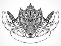 Ornate medieval shield, sword and ribbon banner. Vintage highly detailed hand drawn illustration. Elements.Tattoo design, retro invitation,card, print, t-shirt royalty free illustration