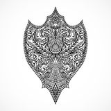 Ornate medieval shield. Vintage floral highly detailed hand drawn illustration. Stock Photography
