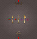 Ornate menu with golden cutlery Stock Images