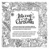 Ornate Merry Christmas doodles frame. Stock Photo
