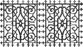Ornate metal iron fence. Ornate wrought metal iron fence on a white background Stock Photos