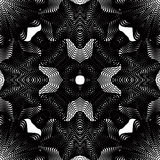 Ornate  monochrome abstract background with overlapping bl. Ack lines. Symmetric decorative graphical pattern, geometric stripy illustration Royalty Free Stock Image