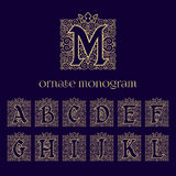 Ornate monograms with crown. Set of ornate monograms with crown with letters A B C D E F G H I J K L M. Vector illustration Royalty Free Stock Photography