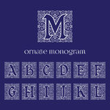 Ornate monograms. Set of ornate monograms with letters A B C D E F G H I J K L M. Vector illustration Stock Images