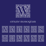 Ornate monograms. Set of ornate monograms with letters N O P Q R S T U V W X Y Z. Vector illustration Stock Images