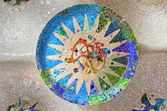 Ornate mosaic ceiling sun Stock Photography