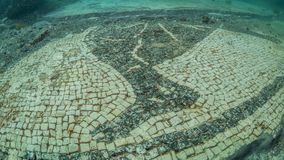 Ornate mosaic in villa protiro. Underwater archeology. Female diver looking at the stunning ornate tessellate in part of the submerged ruins the villa protiro stock photo