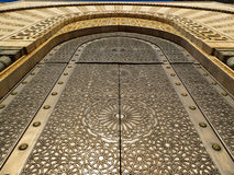 Ornate mosque door - detail of carved pattern Royalty Free Stock Image