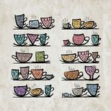 Ornate mugs on shelves, grunge background Royalty Free Stock Photo