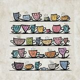 Ornate mugs on shelves, grunge background Stock Photo