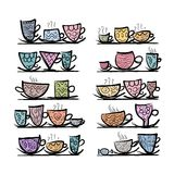 Ornate mugs on shelves, sketch for your design Stock Photography