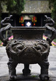 Ornate ncense Pot Temple Sichuan China Stock Image