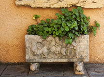 Ornate old font with motifs with planter. Ornate old font with motifs used as a garden planter Stock Photography