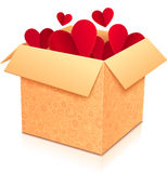 Ornate open box with red paper hearts inside Stock Photography
